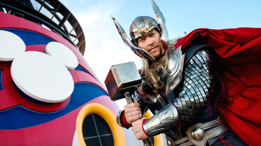 Thor in front of stacks on Disney Magic